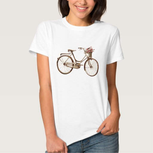Antique Vintage Bicycle Basket Flowers Roses T Shirt