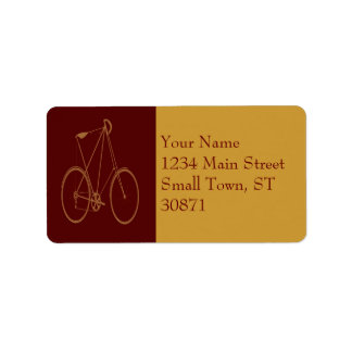 Antique Vintage Bicycle Red Tan Bike Cyclist Address Label
