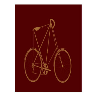 Antique Vintage Bicycle Red Tan Bike Cyclist Postcard