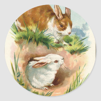 Antique Vintage Happy Easter drawn bunnies Classic Round Sticker