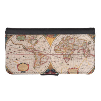 Antique Vintage Map of the Known World Circa 1630 iPhone SE/5/5s Wallet Case