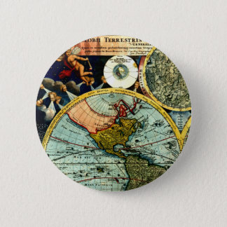 Antique Vintage Map World Globe Historical Art 6 Cm Round Badge