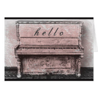 Antique Vintage Piano Pink Hello Notecard