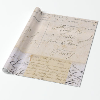 Antique Vintage Postcards Handwriting Wrapping Paper