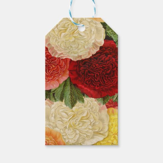 Antique Vintage Red White Pink Yellow Roses Gift Tags