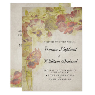 Antique Vintage Roses Wedding Invitation