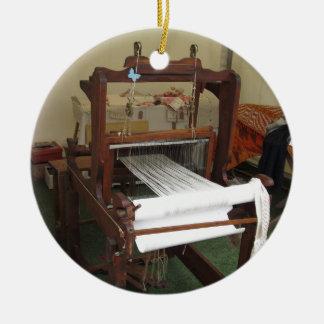 Antique vintage spinner machine working round ceramic decoration