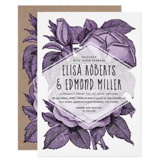 Antique violet roses vintage wedding floral card