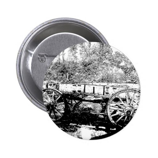 Antique Wagon in Pen and Ink Drawing Pinback Button