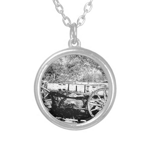 Antique Wagon in Pen and Ink Drawing Necklaces