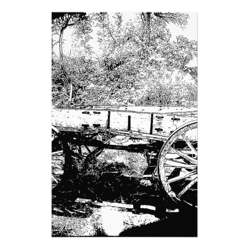 Antique Wagon in Pen and Ink Drawing Customized Stationery