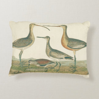 Antique Water Birds Marsh Illustration Decorative Cushion