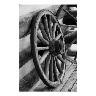 Antique Wheel- Black and White Poster