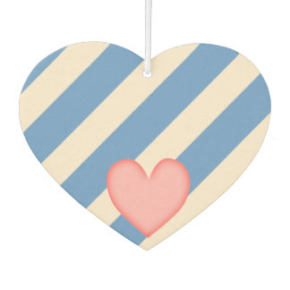 Antique White and Blue Gray Stripes w/Heart Car Air Freshener