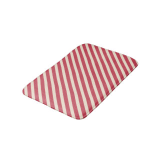 Antique White and Brick Red Diagonal Stripes Bath Mat