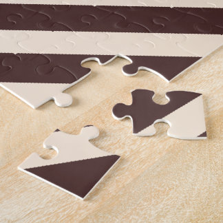 Antique White and Coffee Brown Diagonal Stripes Jigsaw Puzzle