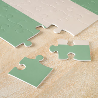 Antique White and Dark Sea Green Stripes Jigsaw Puzzle