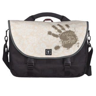 Antique White Damask Pattern; Funny Mom Commuter Bag