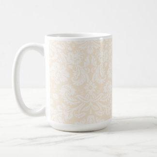 Antique White Damask Pattern Mug