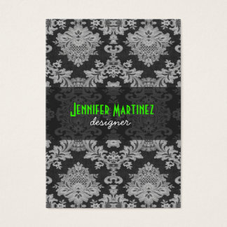 Antique White & Gray Traditional Floral Lace Business Card