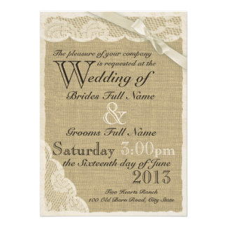 Antique White Lace Country Wedding Custom Invitation