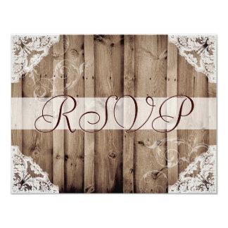 Antique White Lace Wedding RSVP 11 Cm X 14 Cm Invitation Card