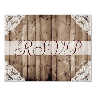 Antique White Lace Wedding RSVP Card