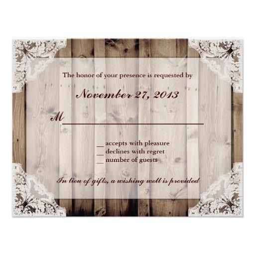 Antique White Lace Wedding RSVP Personalized Invite