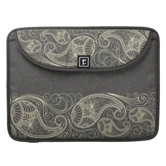 Antique White Paisley On Dark Gray Pattern Design Sleeve For MacBook Pro