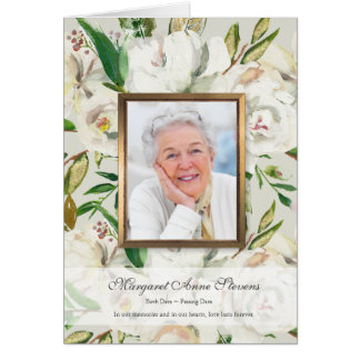 Antique White Rose Funeral Thank You Card