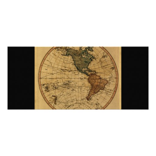 Antique William Faden 1786 Western Hemisphere Map Rack Cards