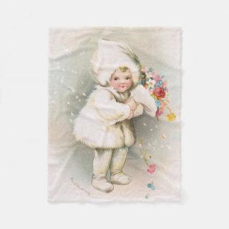 Antique Winter Snow Baby & Flowers Fleece Blanket