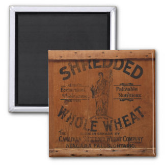 Antique Wood Pine Shredded Wheat Shipping Crate Square Magnet