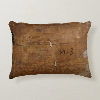 Antique Wood with (or without) Initials Decorative Cushion