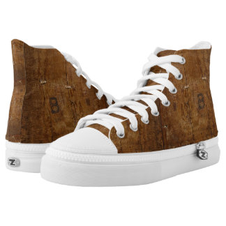 Antique Wood with (or without) Initials Printed Shoes