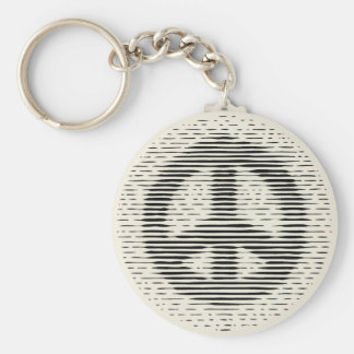 Antique Woodcut Peace Basic Round Button Key Ring