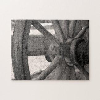 Antique Wooden Wagon Wheel Puzzle