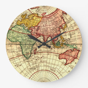 World map wall clocks zazzle antique world globe map vintage art designer style large clock gumiabroncs Image collections