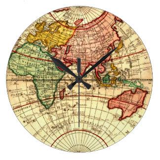 Antique World Globe Map Vintage Art Designer Style Large Clock