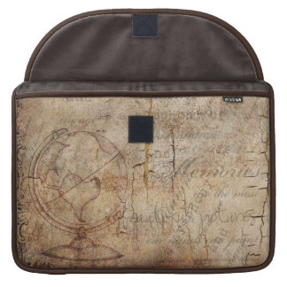 Antique World Globe Rustic Brown MacBook Sleeve