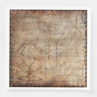 Antique World Globe Rustic Brown Paper Plates Disposable Serviettes