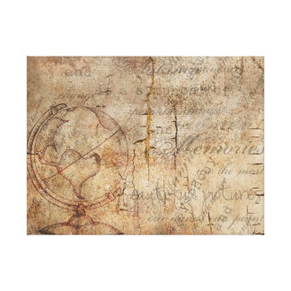 Antique World Globe Rustic Brown Wrapped Canvas