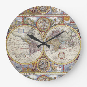 Old world map wall clocks zazzle antique world map 1626 illustrated cartography large clock gumiabroncs Images