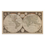 Antique World Map, 1799 (Thomas Kitchen) Print