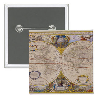 Antique World Map 2 15 Cm Square Badge