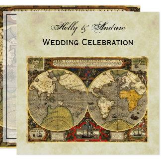 Antique World Map #2, Distressed BG #3 SQ Wedding Card