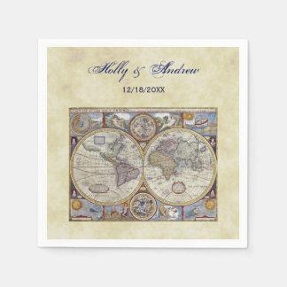 Antique World Map #3, Distressed BG #3 Disposable Napkin