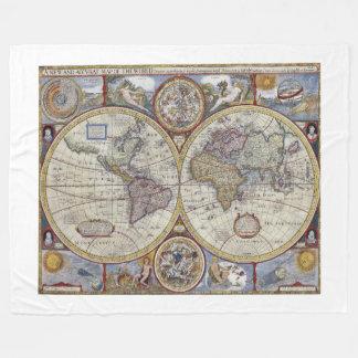 Antique World Map #3 Fleece Blanket