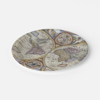Antique World Map #3 Paper Plate