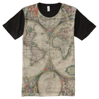 Antique World Map All-Over Print T-Shirt